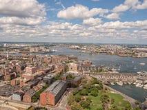Vue panoramique et aérienne de Boston, mA Photos stock