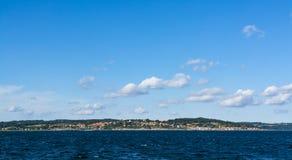 Vue panoramique Gudhjem Danemark Images libres de droits