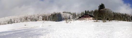 vue panoramique large de flanc couvert de neige de colline Photos stock