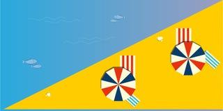 Vue panoramique ou supérieure d'une plage d'été avec des parapluies ou des parasols d'ombre illustration libre de droits