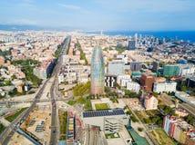 Vue panoramique a?rienne de Barcelone, Espagne images libres de droits