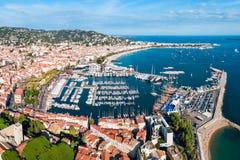 Vue panoramique a?rienne de Cannes, France photographie stock