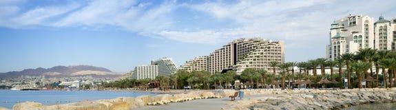 Vue panoramique sur des hôtels de ressource d'Eilat, Israël Photos libres de droits