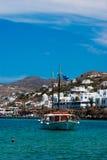 Vue panoramique sur l'île de mykonos images stock