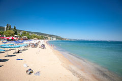 Vue panoramique sur la plage de Varna en Bulgarie. Image stock