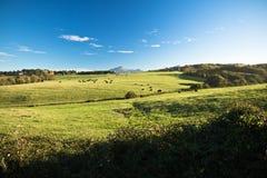 Vue panoramique sur le rhune coloré de La de montagne au-dessus du pré de vert de ressort en ciel bleu Images stock