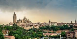 Vue panoramique sur Santa Maria Cathedral Segovia, Espagne images stock