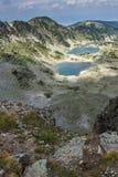 Vue panoramique vers des lacs Musalenski de crête de Musala, montagne de Rila Photos libres de droits