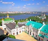 Vue panoramique vers Kiev Pechersk Lavra Monastère chrétien, églises orthodoxes photos libres de droits