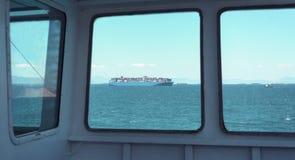 Vue par la fenêtre de cargo Photos libres de droits