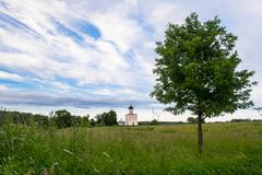 Vue par le pré de Bogolubovo vers l'église de l'intervention de la Vierge Marie sur la rivière de Nerl Photographie stock