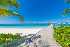 Vue parfaite des villas de luxe de l'eau en île des Maldives Mer bleue et ciel bleu, vue idyllique de mer d'une voie en bois de p images stock