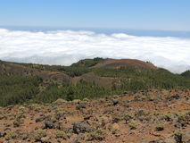 Vue pendant la hausse sur l'EL Pinar, au-dessus des nuages Les Îles Canaries, Espagne Photographie stock libre de droits