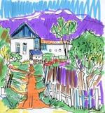 Vue pittoresque de village avec des Chambres et le croquis coloré expressif d'aquarelle de montagnes illustration stock