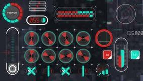 Vue plate d'interface d'animation olographe de panneau clips vidéos