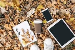 Vue plate de configuration des feuilles d'automne, du comprimé, du téléphone et de la tasse de papier de coffe De ci-dessus avec  Photo libre de droits