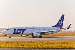 Vue plate de LOT Airlines photographie stock