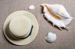 Vue plate de vacances avec des coquilles de shellssea de chapeau de paille et de mer image stock