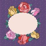 Vue pour le texte avec des roses et des feuilles autour Photos stock