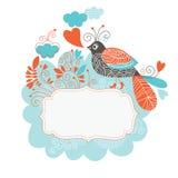 Vue pour le texte avec l'oiseau et les fleurs Photo stock