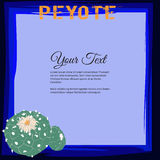 Vue pour le texte avec la famille de cactus de williamsii de Lophophora et le peyotl de floraison de mot Photos stock