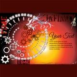 Vue pour le texte avec un mécanisme d'horloge, roues dentées et temps de mots et infini Photos libres de droits