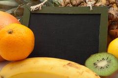 Vue pour les labels avec des fruits Images libres de droits