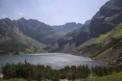 Vue pour noircir l'étang des Tatra-montagnes Images libres de droits