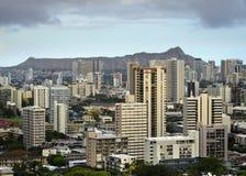 Vue principale de Honolulu et de diamant de punchbowl Photo stock