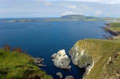 Vue principale de Sunburgh, les Îles Shetland, Ecosse Image stock