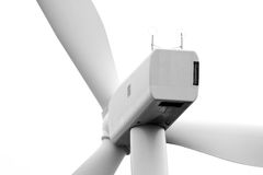 Vue proche du dos d'une nacelle de turbine de vent Photos stock