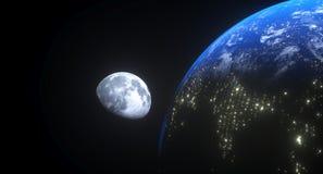 Vue réaliste de la terre à la lune Photos libres de droits