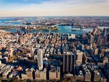 Vue régionale renversante au-dessus d'île de New York et de Manhattan images stock