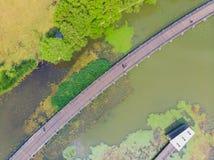 Vue a?rienne au-dessus de parc de lac moon au printemps, Wuhan, Hubei, Chine photo stock