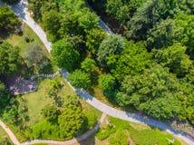 Vue a?rienne au-dessus de parc de lac moon au printemps, Wuhan, Hubei, Chine images libres de droits