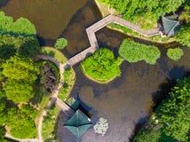 Vue a?rienne au-dessus de parc de lac moon au printemps, Wuhan, Hubei, Chine photographie stock