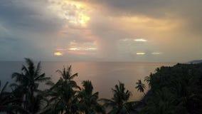 Vue a?rienne de bourdon d'aube du soleil au-dessus de la mer par des palmiers sur la plage, Bali, Indon?sie clips vidéos