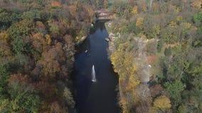 Vue a?rienne du parc national Sofiyivka de Dendrological dans Uman, Ukraine Longueur de bourdon 4K clips vidéos