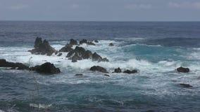Vue rocailleuse d'Hawaï de littoral banque de vidéos