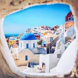 Vue romantique de ville de la Grèce d'île de Santorini Images libres de droits