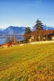 Vue rurale de région de lac Thun dans le lever de soleil de matin d'hiver Photo libre de droits