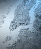 Vue satellite de carte de New York City Photo stock