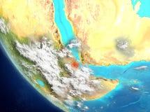 Vue satellite de Djibouti en rouge illustration de vecteur