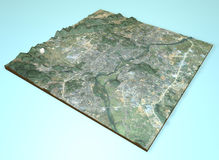 Vue satellite de Guilin, Chine, carte, section 3d Photo libre de droits