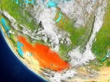 Vue satellite de Kazakhstan en rouge Photo stock