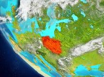 Vue satellite de la Pologne en rouge Images stock