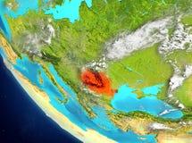 Vue satellite de la Roumanie en rouge Photo stock