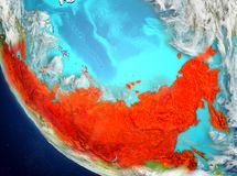 Vue satellite de la Russie en rouge Image stock