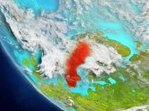 Vue satellite de la Suède en rouge Photo stock