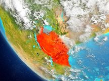 Vue satellite de la Tanzanie en rouge Photographie stock